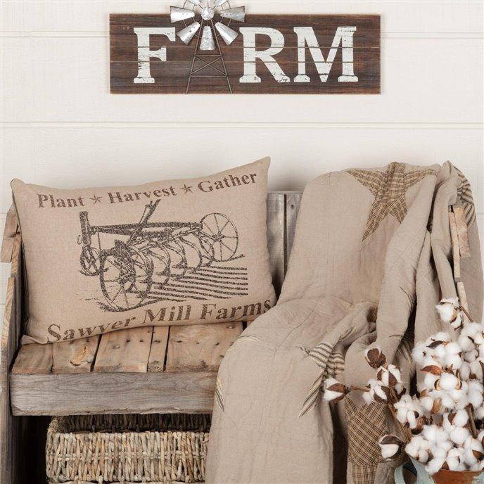 Sawyer Mill Charcoal Plow Pillow 14x22 Thumbnail
