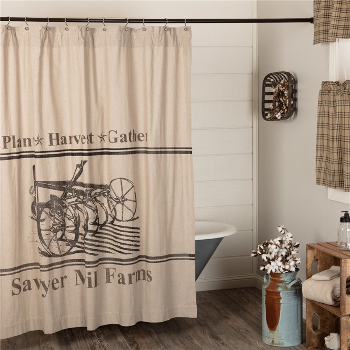 Sawyer Mill Charcoal Plow Shower Curtain 72x72 Thumbnail