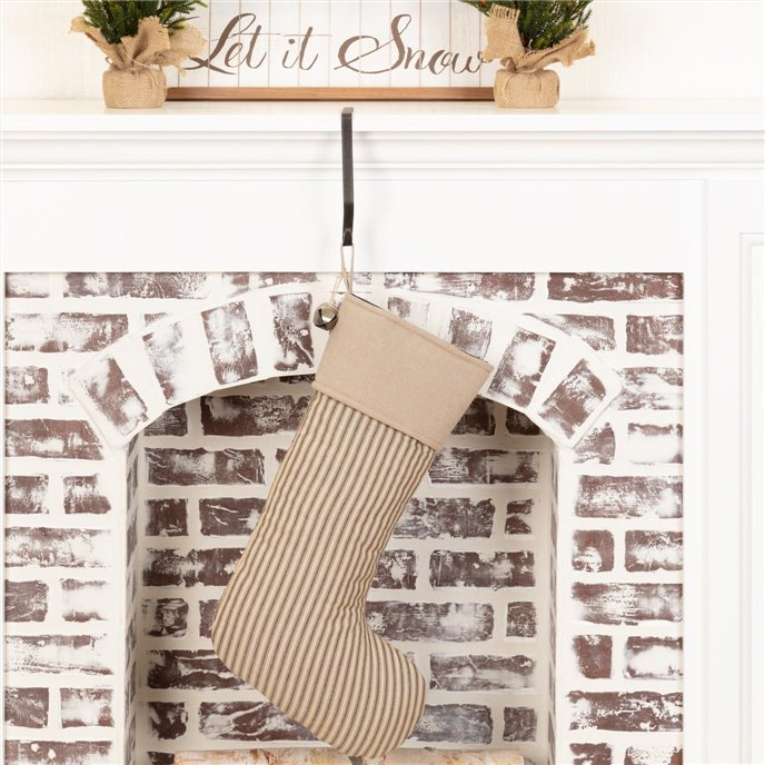 Sawyer Mill Charcoal Ticking Stripe Stocking 12x20 Thumbnail