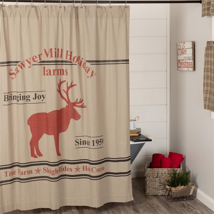 Sawyer Mill Reindeer Shower Curtain 72x72 Thumbnail
