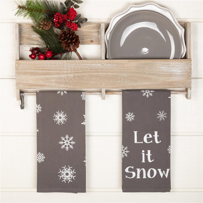 Snowflake Burlap Grey Let It Snow Tea Towel Set of 2 19x28 Thumbnail