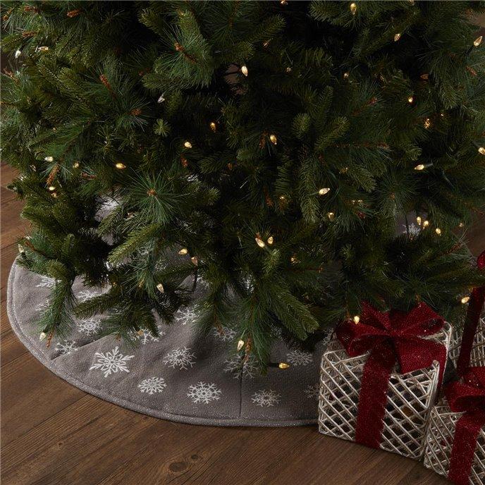 Snowflake Burlap Grey Tree Skirt 48 Thumbnail