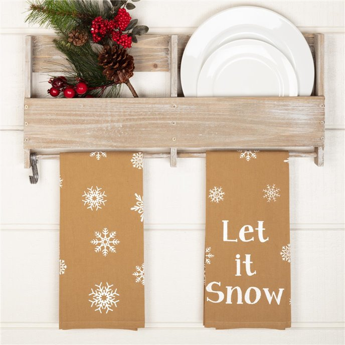 Snowflake Burlap Natural Let It Snow Tea Towel Set of 2 19x28 Thumbnail