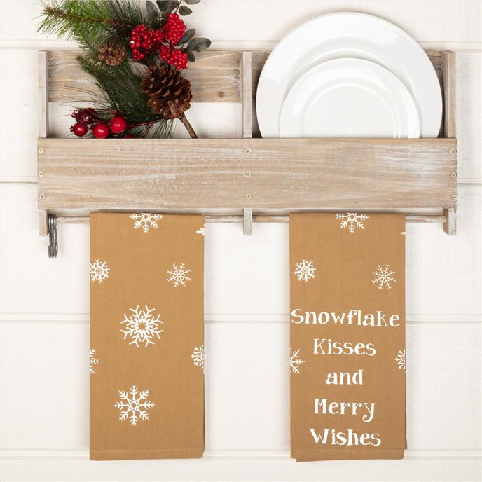 Snowflake Burlap Natural Snowflake Kisses Tea Towel Set of 2 19x28 Thumbnail