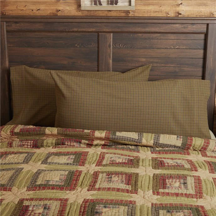 Tea Cabin Green Plaid King Pillow Case Set of 2 21x40 Thumbnail