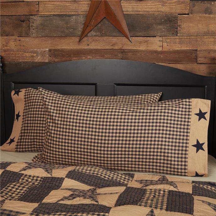 Teton Star King Pillow Case w/Applique Star Set of 2 21x40 Thumbnail