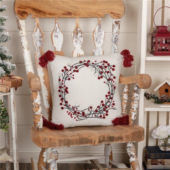 Wreath Pom Pom Pillow 18x18 Thumbnail