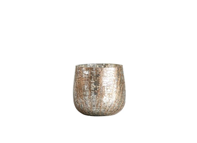 Mercury Glass Votive Holder with Gold Crackle Finish Thumbnail