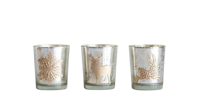 Metallic Etched Glass Tealight Holders Assorted Set of 3 Thumbnail