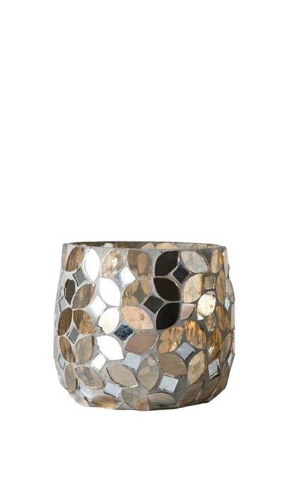Mosaic Tealight Holder with Gold Finish Thumbnail