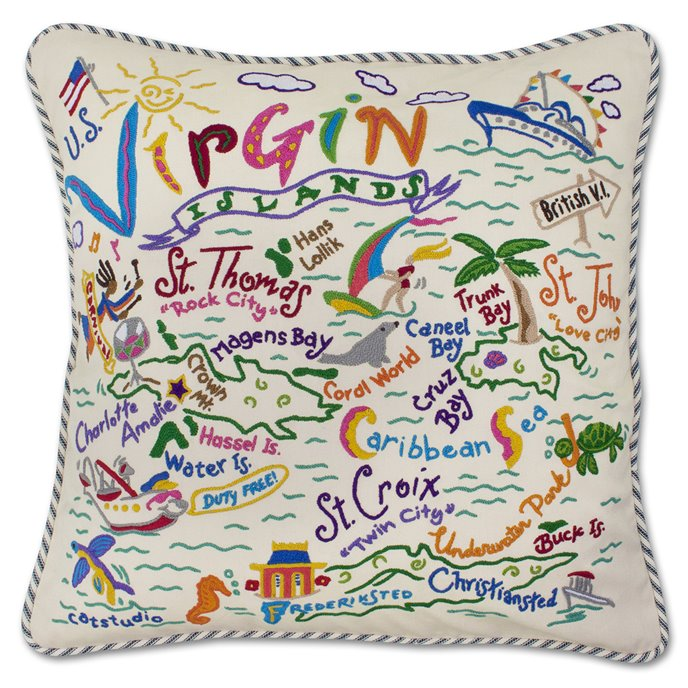 U. S. Virgin Islands Hand Embroidered Pillow by Catstudio Thumbnail