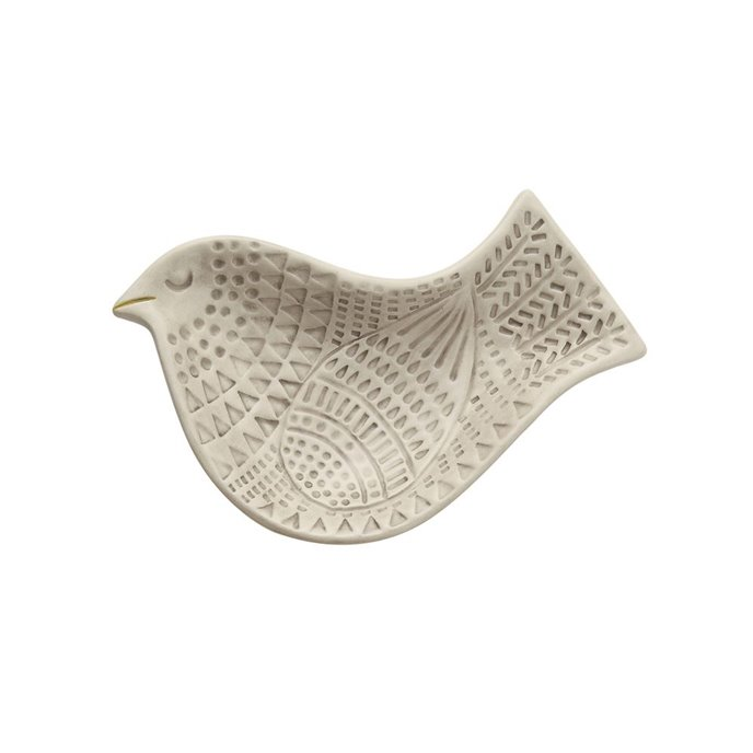 Small Embossed Ceramic Bird Plate Thumbnail