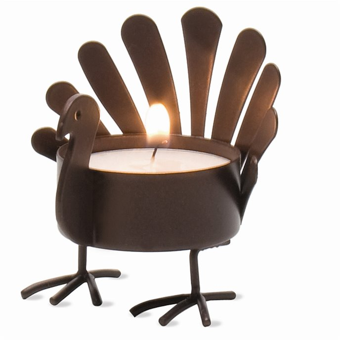 Standing Turkey Tealight Holder - Antiqued Bronze Finish Thumbnail
