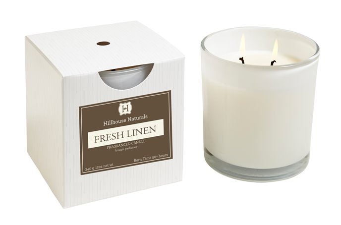 Fresh Linen 2 Wick Candle In White Glass 12 oz by Hillhouse Naturals Thumbnail