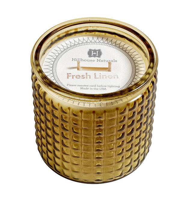 Fresh Linen Large Candle Glass 15 oz by Hillhouse Naturals Thumbnail