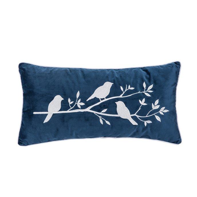 Embroidered Velvet Bird Branch Pillow Thumbnail