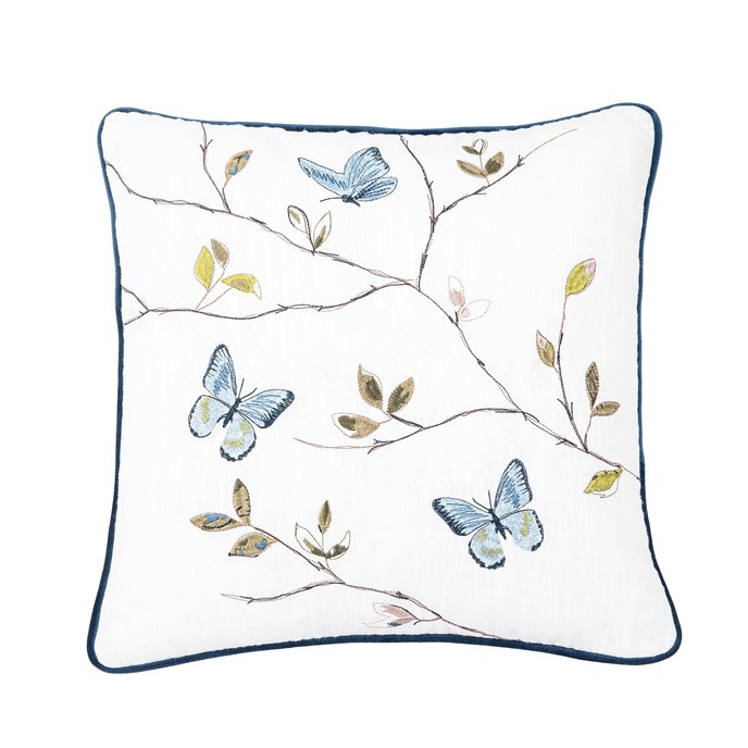 Embroidered Butterfly Branch Pillow Thumbnail