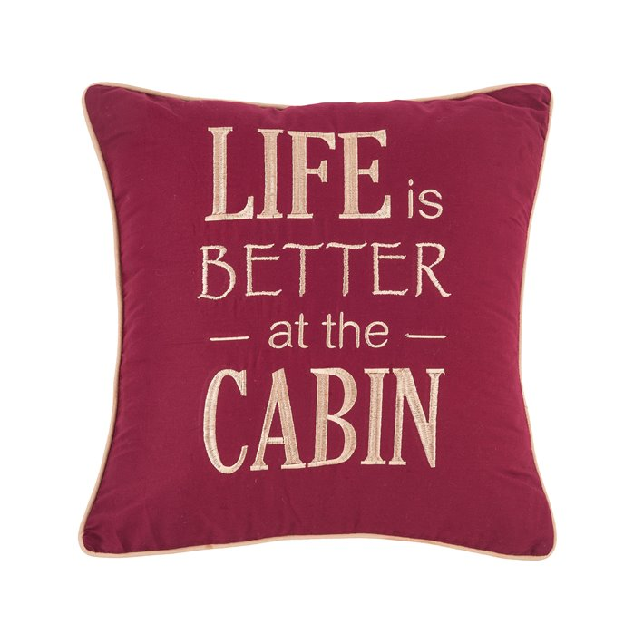Life is Better At The Cabin Embroidered Pillow Thumbnail