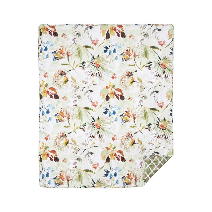 Watercolor Floral Quilted Throw Thumbnail