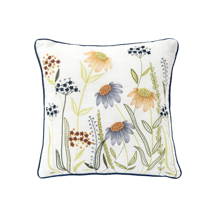 Embroidered Flower Field Pillow with French Knots Thumbnail