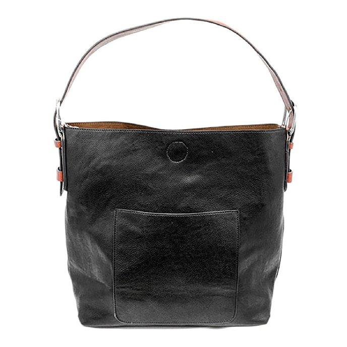 Black- Cedar Handle Hobo Handbag Thumbnail