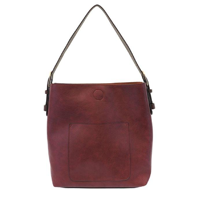 Merlot Hobo Handbag with Coffee Handle Thumbnail