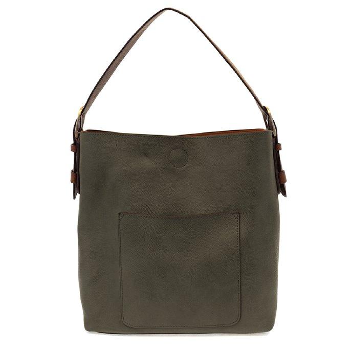 Dark Olive Hobo Handbag with Coffee Handle Thumbnail