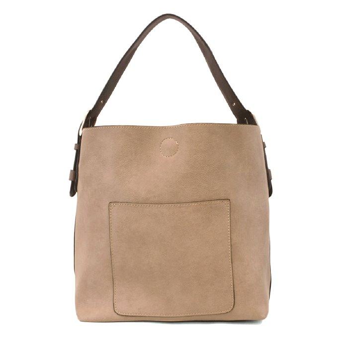 Heathered Grey Hobo Handbag with Coffee Handle Thumbnail
