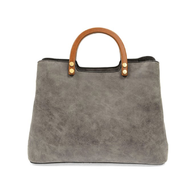 Grey Angie Vintage Satchel with Wood Handles Thumbnail