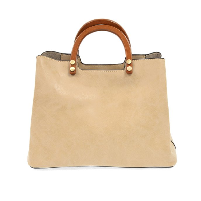 Oat Angie Vintage Satchel with Wood Handles Thumbnail