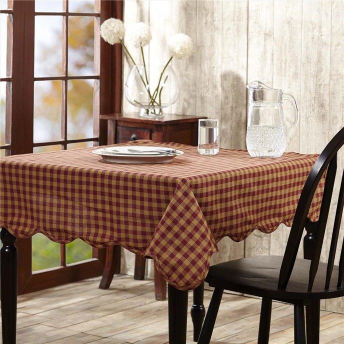 Burgundy Check Scalloped Table Cloth 60x60 Thumbnail