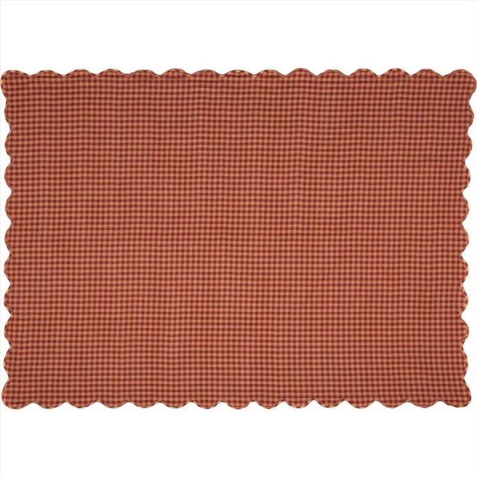 Burgundy Check Scalloped Table Cloth 60x80 Thumbnail
