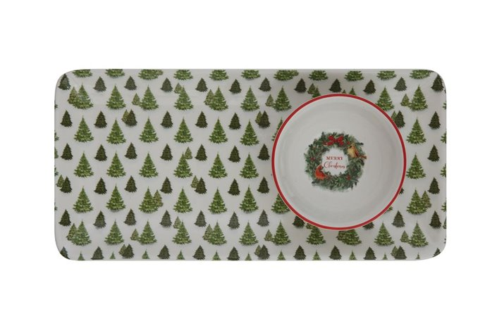 Evergreen Tree Ceramic Chip & Dip Plate & Bowl Set of 2 Thumbnail