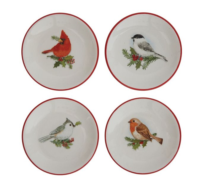 Winter Birds Ceramic Dishes Set of 4 Assorted Thumbnail