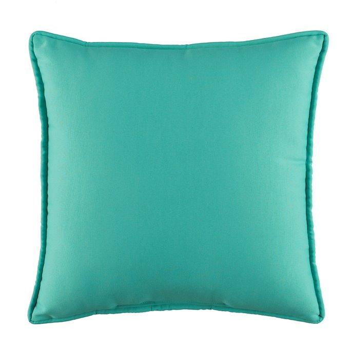 Floridian Flamingo Solid Blue Square Pillow Thumbnail