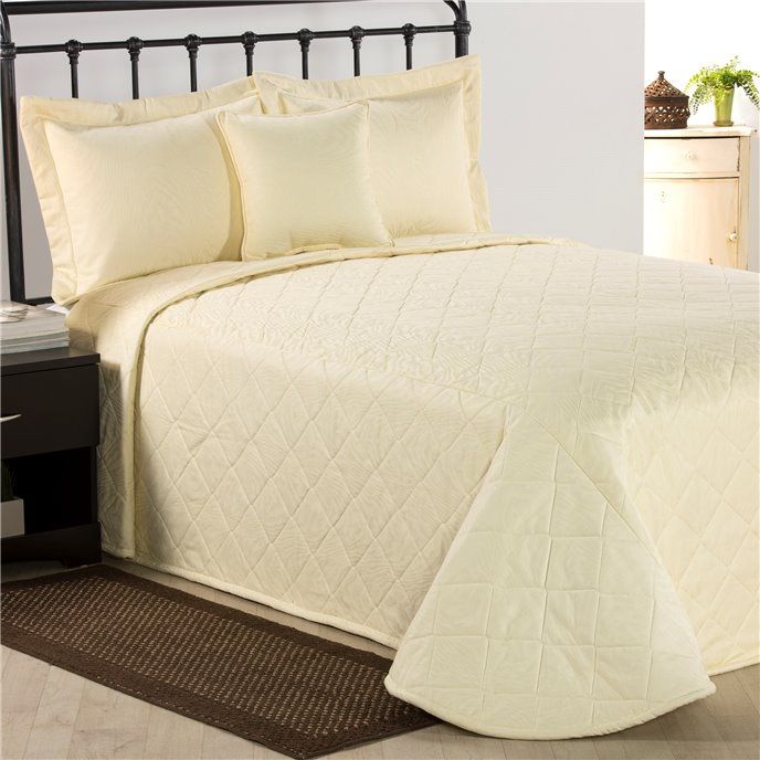 Ivory Moire Queen Bedspread Thumbnail