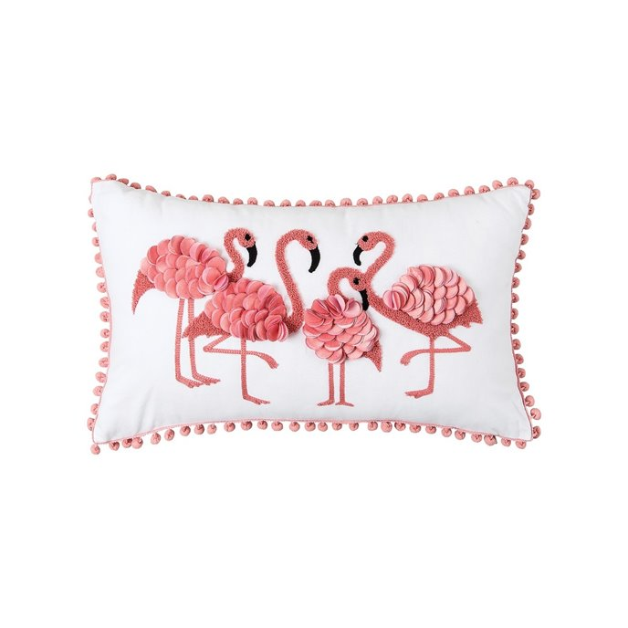 Embellished Flamingo Pillow with Pom Poms Thumbnail