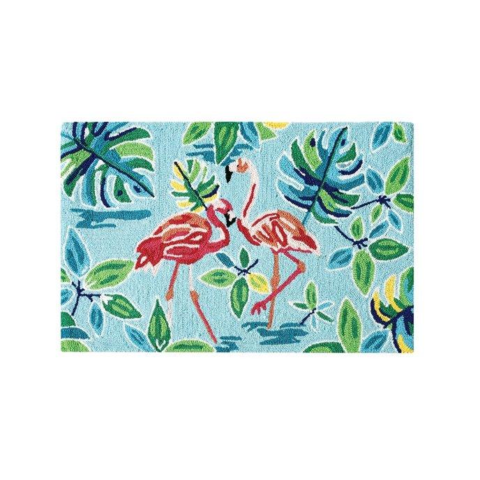 Flamingo Garden Hooked Rug Thumbnail