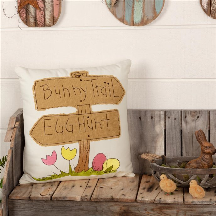 Easter Bunny Trail Pillow 18x18 Thumbnail