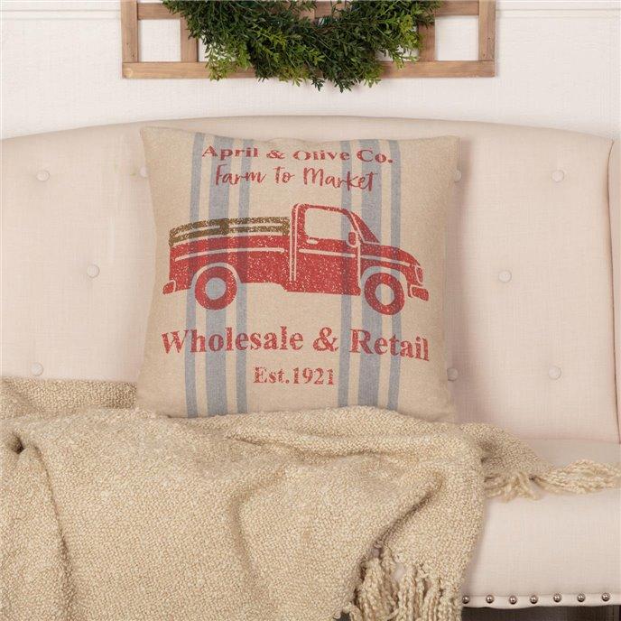 Farmer's Market Delivery Truck Pillow 18x18 Thumbnail
