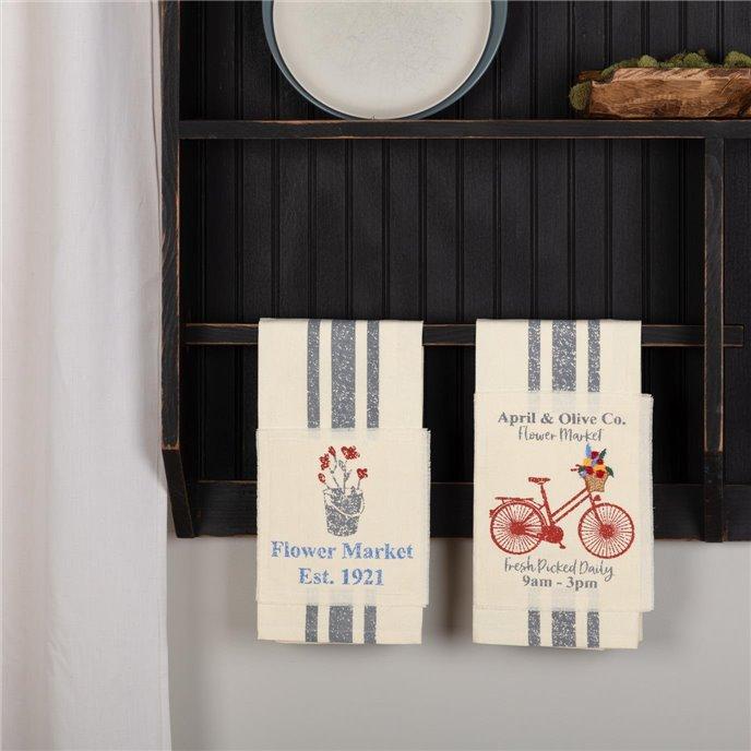 Farmer's Market Flower Market Unbleached Natural Muslin Tea Towel Set of 2 (Flower Pot; Bicycle) Thumbnail