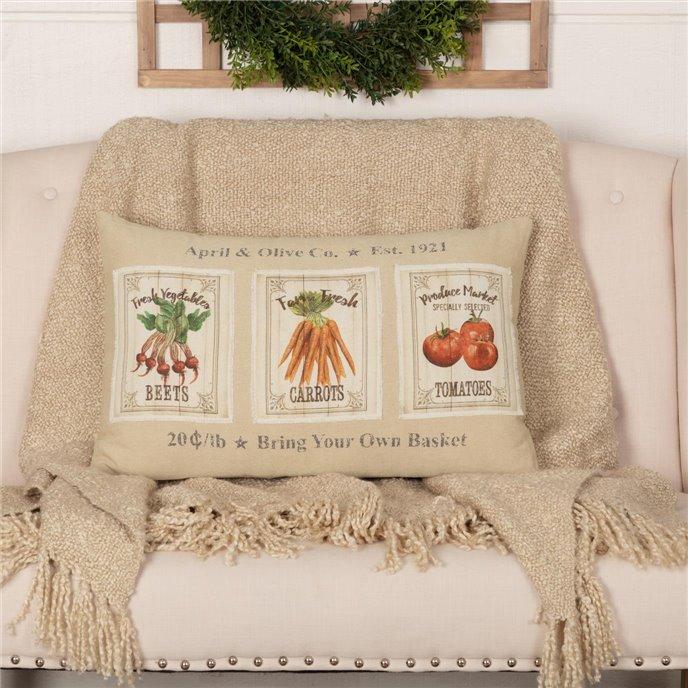 Farmer's Market Garden Veggie Pillow 14x22 Thumbnail