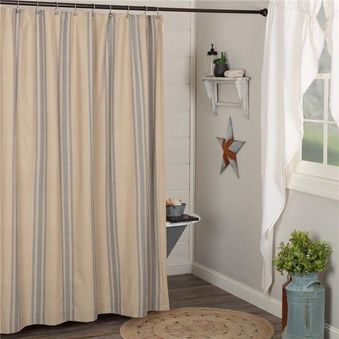 Farmer's Market Grain Sack Stripe Shower Curtain 72x72 Thumbnail