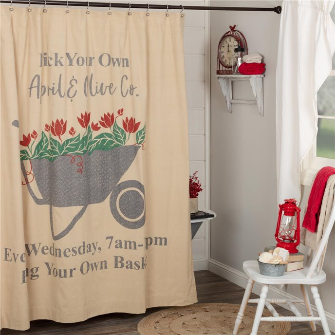 Farmer's Market Wheelbarrow Shower Curtain 72x72 Thumbnail