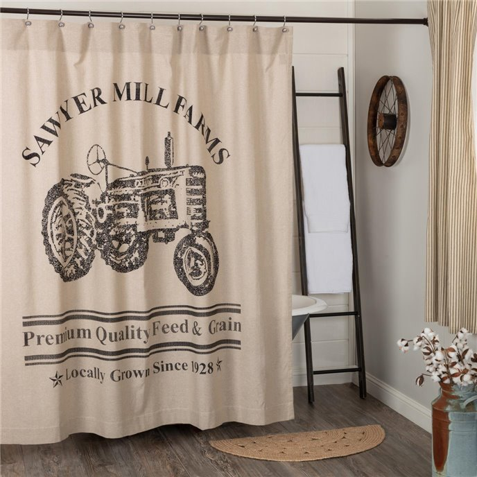 Sawyer Mill Charcoal Tractor Shower Curtain 72x72 Thumbnail