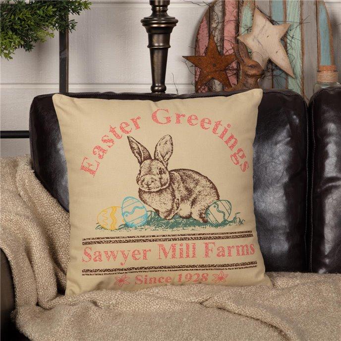 Sawyer Mill Easter Greetings Bunny Pillow 18x18 Thumbnail