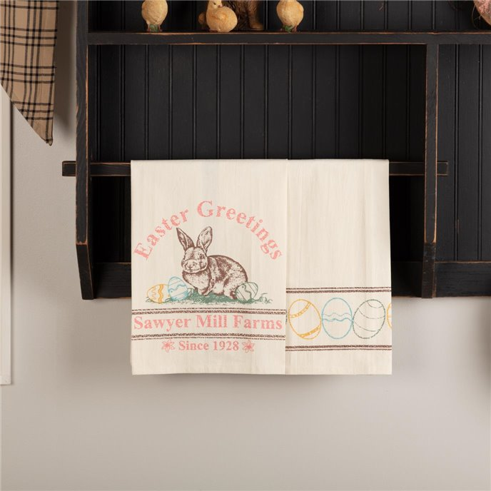 Sawyer Mill Easter Greetings Bunny Unbleached Natural Muslin Tea Towel Set of 2 19x28 Thumbnail
