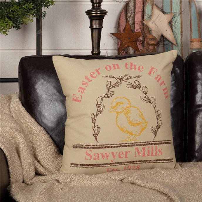 Sawyer Mill Easter on the Farm Chick Pillow 18x18 Thumbnail