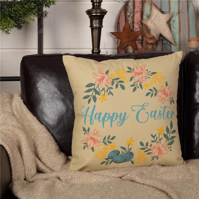 Sawyer Mill Happy Easter Wreath Pillow 18x18 Thumbnail