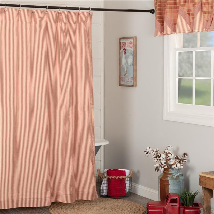 Sawyer Mill Red Ticking Stripe Shower Curtain 72x72 Thumbnail